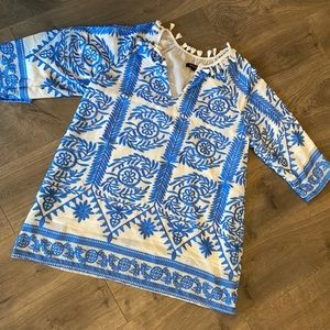 Beulah Tassel Blue and White Embroidered Tunic